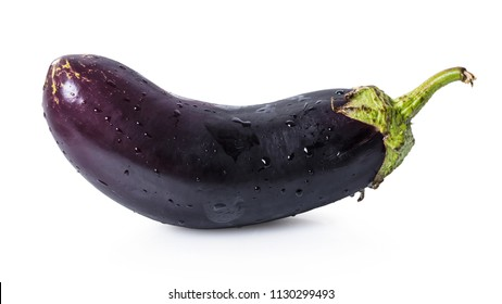organic eggplant closeup on white isolated background