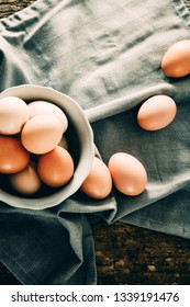 Organic eggs on wood. Fresh eggs. Healthy food