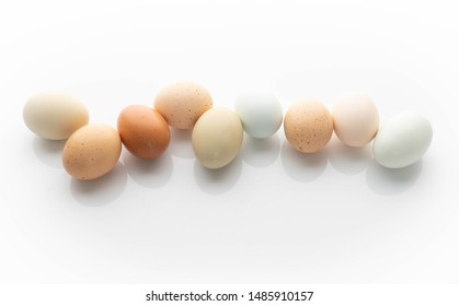 Organic Eggs of Various Colors on White Background
