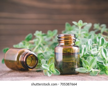 Organic essential thyme oil with green leaves of thyme. Two small brown glass bottles. Copy space.