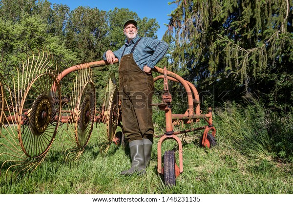 An organic farmer with dungarees and rubber boots stands at his old hay tedder after the hay harvest and looks thoughtfully over his farmland.