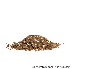 Organic fertilizer and soil on whitebackground