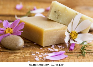 Organic floral soap.Natural skincare soaps with flowers extract