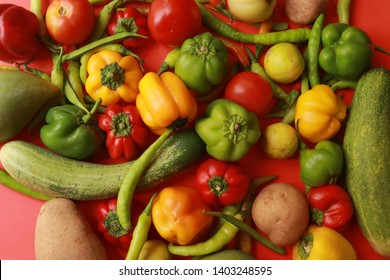 Organic food background. Food photography different fruits and vegetables isolated color full background. Copy space. High resolution product