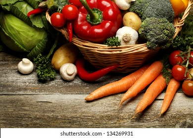 organic food background Vegetables in the basket