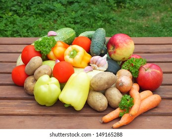 organic food background Vegetables on the old wooden table