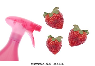 Organic Food Concept with Spray Bottle Pointed Towards Fresh Strawberries Isolated on White.