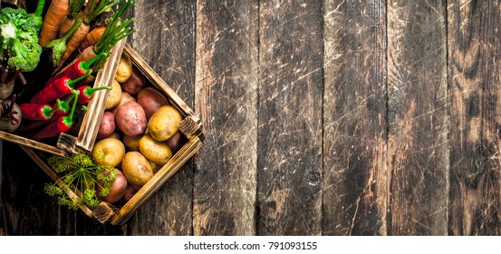 Organic food. Harvest of fresh vegetables in old boxes. On a wooden table.