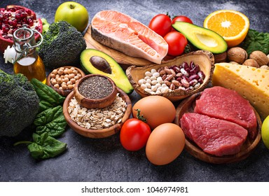Organic food for healthy nutrition and superfoods. Balanced diet. Selective focus