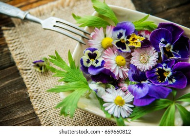 organic food,a plate full of edible flowers