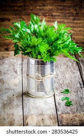 organic fresh bunch of parsley in tin on a wooden rustic background
