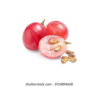 Organic fresh grapes with seeds on white background. Natural essential oil ingredient