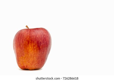 Organic Fresh red apple on a white background with copy space for text