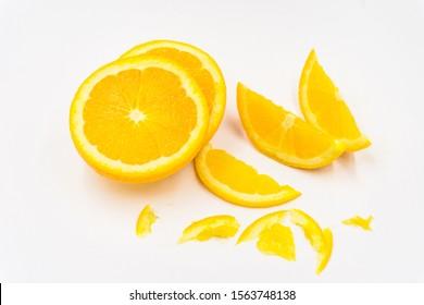 Organic freshness Orange fruit slice and peel taste sweet and sour on isolate white background