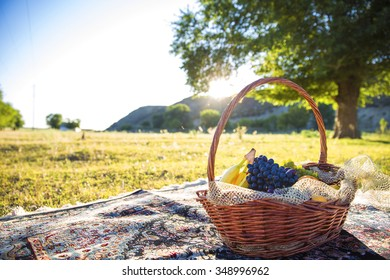 Organic fruit in basket in summer grass. Fresh grapes, bananas and oranges in nature.