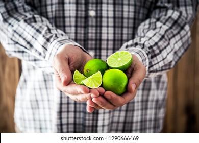 Organic fruit. Farmers hands with fresh fruit. Fresh organic limes. Green lime