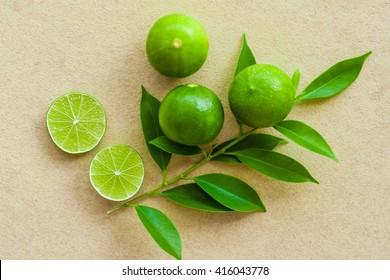 organic fruit lime on sandstone background
