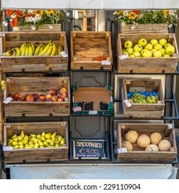 Organic Fruit on Display on a Street Market Stall