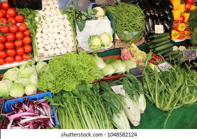 organic fruit and vegetables for sale at the local market