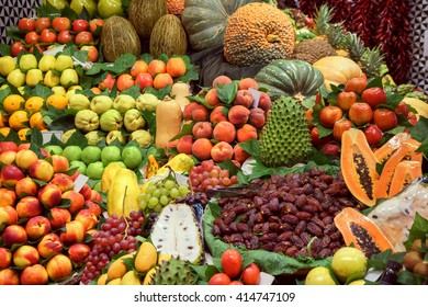 Organic Fruits on market. Photo of different fruits and vegetables on table. High resolution product. Barcelona famous marketplace