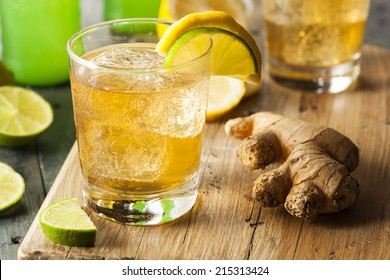 Organic Ginger Ale Soda in a Glass with Lemon and Lime