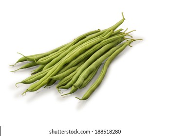 Organic Green French Beans isolated on white background