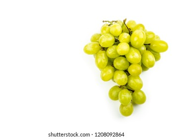 Organic Green grape isolated on white background. Full depth of field.