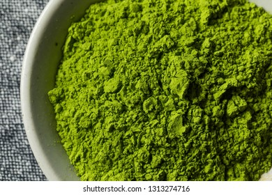 Organic Green Tea Matcha Powder in a Bowl