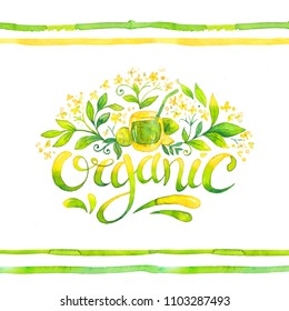 Organic - hand drawn watercolor lettering.  Handwritten label with yellow and green isolated on white. Message of healthy life