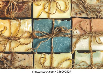 Organic handmade soap. A lot of slices