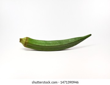 An organic and healthy okra or lady's finger on white background