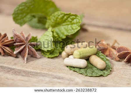 Organic Herb capsule medicine with mint leaves