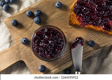 Organic Homemade Blueberry Huckleberry Preserves on Toast