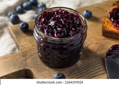 Organic Homemade Blueberry Huckleberry Preserves on Toast