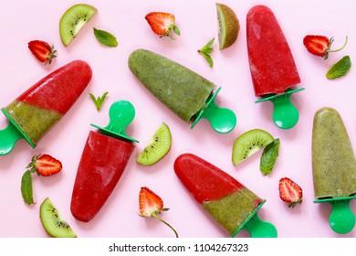 organic homemade fruit ice cream - strawberry and kiwi fruit