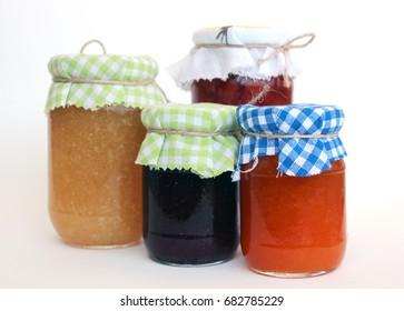 Organic Homemade Jams, From left side; Lemon Jam, Strawberry Jam,  Tangerine Jam, Quince jam(at theback)