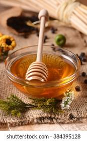 organic honey in glass bowl