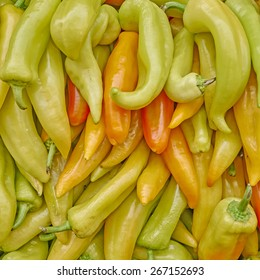 organic horn peppers close up, tasty background