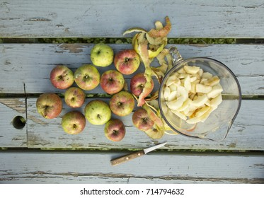 Organic Jonathan apples, apple peels and apple slices sitting on blue picnic table outside with knife.