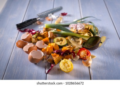 Organic leftovers, kitchem scraps, waste from vegetable ready for recycling and to compost. Collecting food leftovers for composting. Environmentally responsible behavior, ecology concept. Copy space.