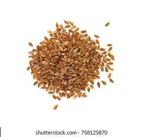 Organic Linseed or Flaxseed (Linum usitatissimum) isolated on white background.