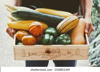 Organic, Locally Grown Farm Share in a Wooden Crate. Community Supported Agriculture CSA Box. Delivery at the Front Door.