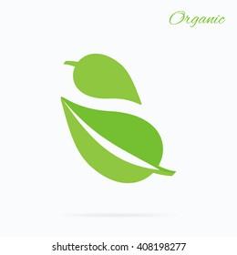 Organic logo green leaf design flat. Nature leaf logo, organic label eco, natural leaf plant, bio health label  illustration