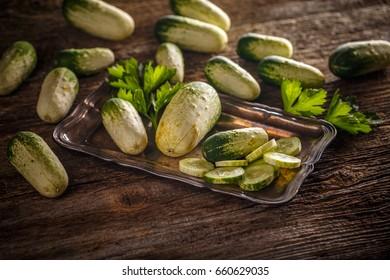 Organic mini cucumbers on dark wooden background