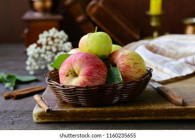 organic natural red apples on a wooden table
