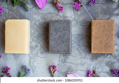 Organic natural soap bars with plants extracts, handmade soap, top shot