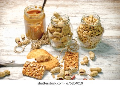 Organic peanut, peanuts in shell, peanut butter and sweet peanut tiles (peanut chips)