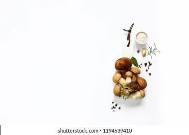 Organic porcini mushroom. Seasonal forest mushroom, Italian and spices. Autumn background. Top view