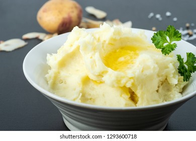 Organic potatoes, mashed with butter, milk, sea salt and white pepper. Parsley on top.