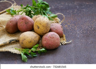 organic potatoes on the table, rustic style